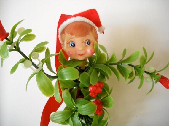 Vintage Mistletoe Pixie Elf