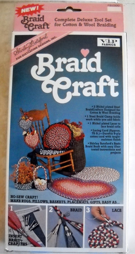 Shirley Botsford Complete Deluxe Braid Craft Tool Set for Pillows, Rugs, Baskets, Placemats No Sew Craft Never Used