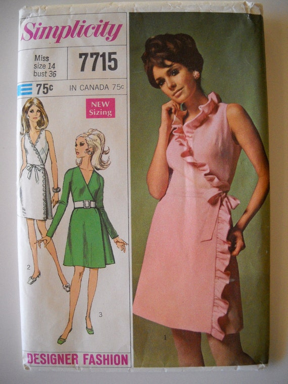 Simplicity 7715 Designer Fashion Misses Front Wrap Dress Size 14 UNCUT