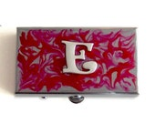 Metal Pill Box Rectangle Monogram Insignia Personalized Pillbox Hand Painted Glossy Enamel Finish Customizable