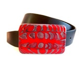Belt Buckle Hand Painted Red Gray Metal Buckle for Snap Belts with a Glossy Enamel Finish