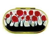 Oval Compact Mirror, Red,Black and White Blossom, Hand Painted by Liza, Glossy Enamel Finish, Customizable