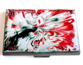 Metal Business Card Case Hand Painted Metal Wallet Red Marble Inspired Credit Card Holder with a Glossy Enamel Finish Customizable