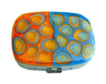 Oval Metal Pill Box with Mirror Hand Painted Enamel Orange and Blue Mod Inspired Design with Personalized and Color Options