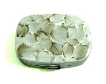Oval Pill Box with Mirror Hand Painted Enamel Taupe and White Quartz Inspired Pill Case with Personalized and Color Options