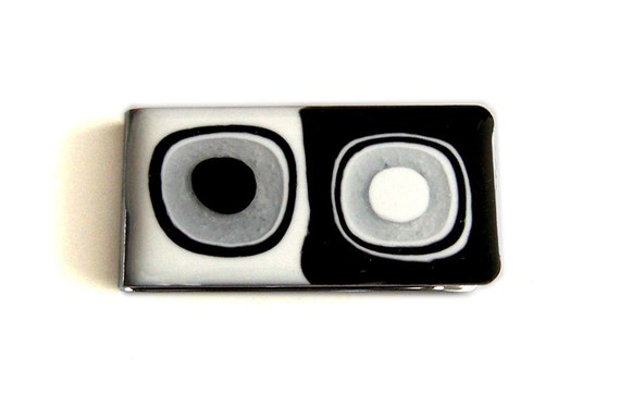 Metal Money Clip Black and White MOD Design Hand Painted on Silver Plated Money Clip Glossy Enamel Finish
