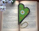Valentine Heart Bookmark Daisy Fabric Green Yellow