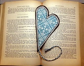 Heart Bookmark Fabric Book Mark Turquoise Cream and Brown Modern Damask