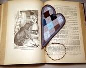 CLEARANCE Valentine Fabric Heart Bookmark Argyle