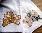 Reserved for fariyosity2 - Flour sack type dish towels, repurposed vintage embroidered flowers appliqued  - set of two