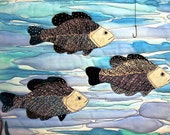 Fish Wallhanging, Quilted Under Water Lake Scene Picture with Real Fish Hook