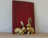 pair of vintage brass rabbits