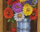 Zinnias in a Tin Can...