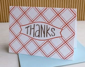 Cheery Picnic Plaid Thank You Notes with hand-drawn lettering (set of 6) - Letterpress printed
