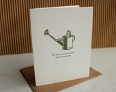 Letterpress greeting card,  garden note card - He who plants a garden plants happiness