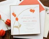 Japanese, Chinese lantern wedding invitation, Unique Autumn flower - SAMPLE - Letterpress or Flat Printed