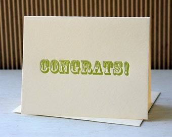 Letterpress Congratulations Card - Wood Type CONGRATS / SALE!!