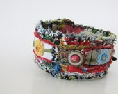 Artsy Cuff Boho Hipster Red Blue Yellow One of a Kind