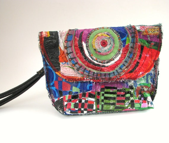 Reserved UpCycled Clutch Bag Colorful Wristlet One of a Kind Purse