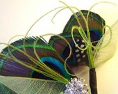 TWIST OF LIME Peacock Bridal Party Set Hair Clip and Boutonniere Wedding Party Pair