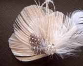 Peacock Hair Clip SNOW PRINCESS  Feather and Rhinestone Wedding Hair Fascinator Clip Bridal Party