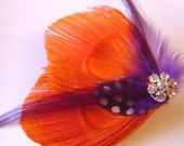 Peacock Feather Hair Clip TANGERINE and WINE Rhinestone Wedding Party Hair Fascinator Clip