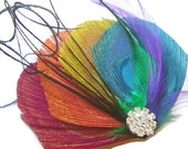 Peacock Hair Fascinator RAINBOW LOVE Perfect for a Fall Bride or Bridesmaids ROYGB