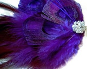 Regal Peacock Hair Fascinator Clip MIDNIGHT PLUM Perfect for a Fall Bride or Bridesmaids