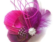 Peacock Feather Hair Clip ALL GIRL Pink and Purple Rhinestone Wedding Hair Fascinator Clip Bridal Party