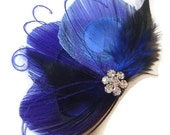Peacock Feather Hair Clip BLUE BUTTERFLY Feather and Rhinestone Wedding Hair Fascinator Clip Bridal Party