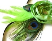 FEATHER Corsage Lime Sherbet Rose and Peacock Flower Corsage Wedding Bridal Party