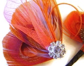 Sun kissed Orange Peacock Bridal Party Set Hair Clip and Boutonniere Wedding Party Pair