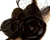 STEAMPUNK Black Rose Peacock Hair Clip Goth Bridal MADAME NOIR with French Netting Veil