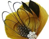 Peacock Hair Clip BEE'S KISS Peacock and Rhinestone Wedding Hair Fascinator Clip Yellow and Black