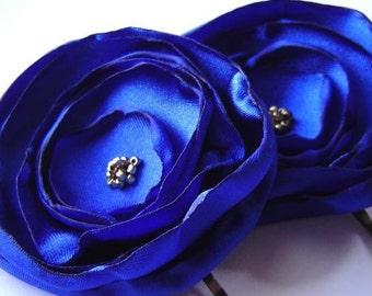 Royal Blue Satin and Gold Peony Poppy Pins Bobby pin set Bridal Party