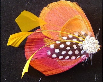 RAINBOW SHERBET Peacock Wedding Hair Fascinator Clip MAde to Order