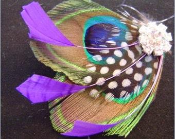KISS OF PLUM Natural Peacock and Rhinestone Wedding Hair Fascinator Clip