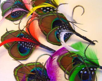 Custom Peacock Groom Groomsman Set of 5 Boutonnieres Wedding Party Your Choice of Color Several Colors Available