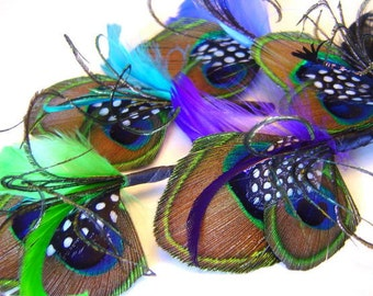 FOR THE MEN Custom Peacock Groom Groomsman Set of 5 Boutonnieres Wedding Party Your Choice of Color Several Colors Available
