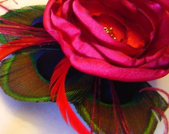 JENNIFER Peacock and Flower Hair Fascinator Clip in RUBY Red Wedding Perfect for Bridal Party