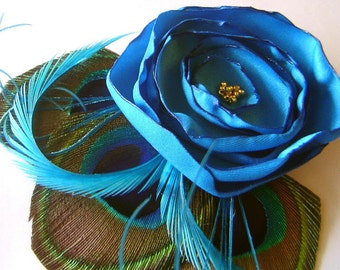 JENNIFER in Malibu Blue Peacock and Flower Hair Fascinator Clip Wedding Perfect for Bridal Party