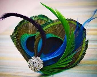 MERMAID QUEEN Natural Peacock and Rhinestone Wedding Hair Fascinator Clip
