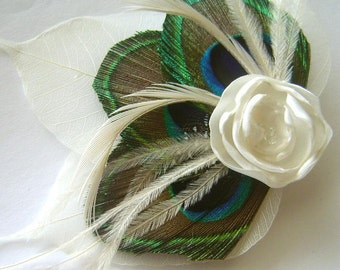 Peacock feather and Petite Ivory Rose Ostrich Hair Fascinator Clip with Ivory Skeleton Leaves Perfect for a Fall Bride