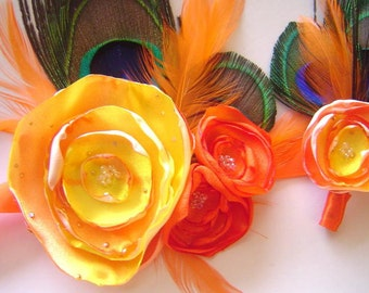 Peacock Corsage & Boutonniere Bridal Party Set Hot Tangerine Orange Swirl Satin Flower Set
