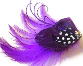 Peacock Feather Hair Clip PINCH of PURPLE Rhinestone Wedding Hair Fascinator Clip Bridal Party