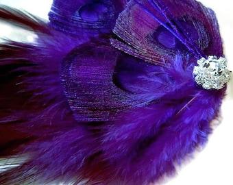Regal Peacock Hair Fascinator Clip MIDNIGHT PLUM Perfect for a Fall Bride or Bridesmaids