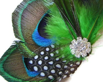 Peacock Hair Clip SPRING GREEN Feather and Rhinestone Wedding Hair Fascinator Clip Bridal party