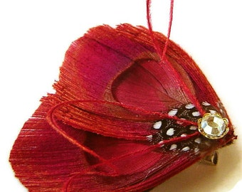 LYNN in Red Peacock and Guinea Feather Rhinestone Hair Wedding Fascinator Clip Bobby Pin Ready to Ship