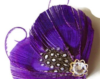 LYNN in Plum Purple Peacock and Guinea Feather Rhinestone Hair Wedding Fascinator Clip Bobby Pin Ready to Ship