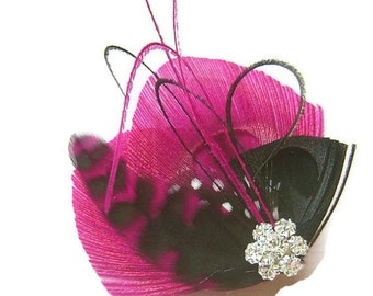 Peacock Hair Clip FUCHSIA & GRIZZLY Feather and Rhinestone Wedding Hair Fascinator Clip Bridal party